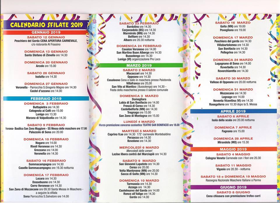 calendario carnevale